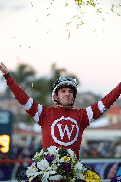 Florent Geroux celebrates after winning the Breeders Cup Classic atop Gun Runner on November 4, 2017. Photo by Skip Dickstein