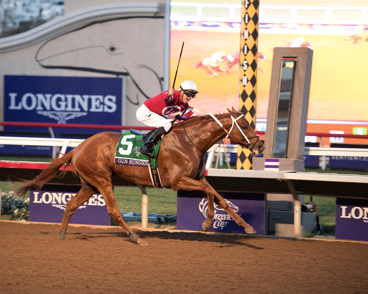 Gun Runner wins the Breeders Cup Classic on November 4, 2017. Photo by Anne Eberhardt.
