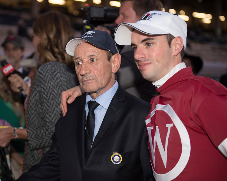 Florent Geroux with is father Dominique Geroux. Gun Runner