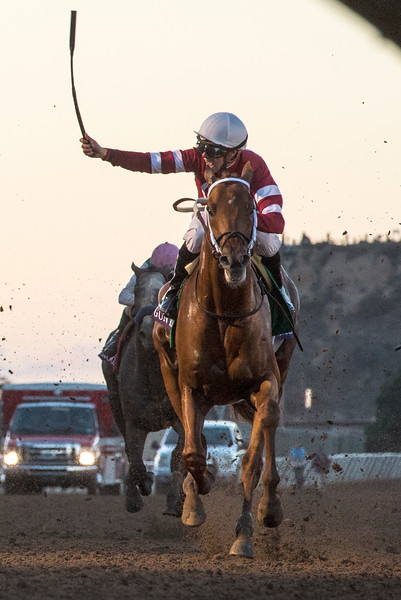 Gun Runner wins the Classic with jockey Florent Geroux..  Photo by Skip Dickstein