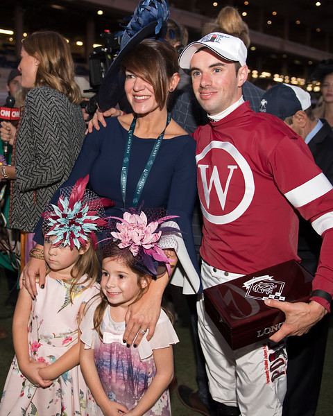 Florent Geroux and family after Gun Runner win.