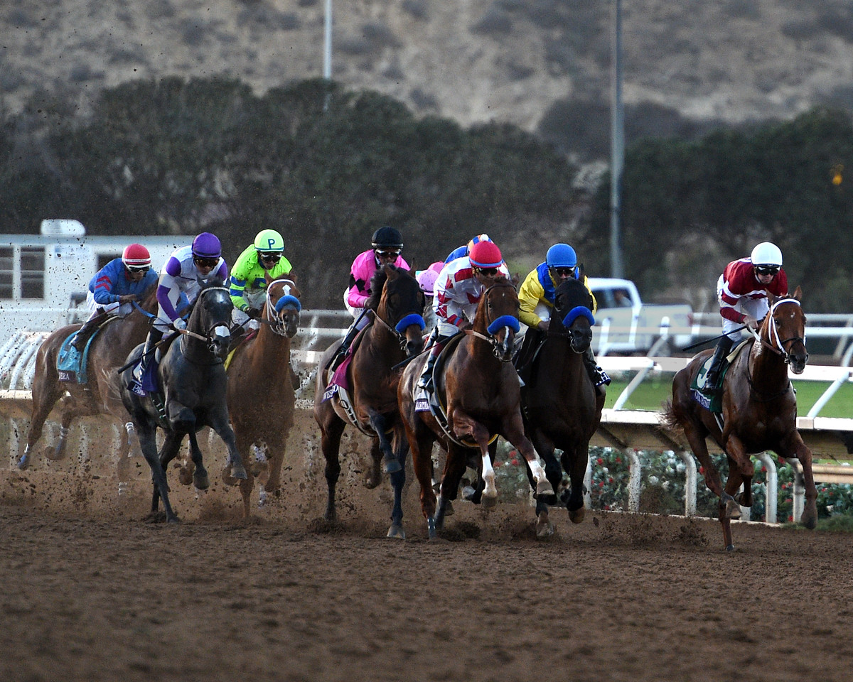 Gun Runner with Florent Geroux wins the Breeders' Cup Classic (G1) at Del Mar Racetrack on November 4, 2107.<br /> Dave Harmon Photo
