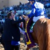 William Buick celebrates after winning the Breeders Cup Filly and Mare Turf atop Wuheida on November 4, 2017. Photo by Skip Dickstein.