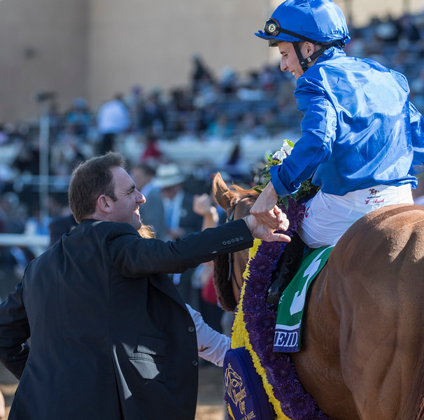 Wuheida wins the Breeders Cup Filly and Mare Turf on November 4, 2017. Photo by Skip Dickstein.