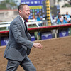 Chad Brown<br /> Rushing Fall wins the Juvenile Fillies Turf at Del Mar on November 3, 2017. Photo by Anne Eberhardt.