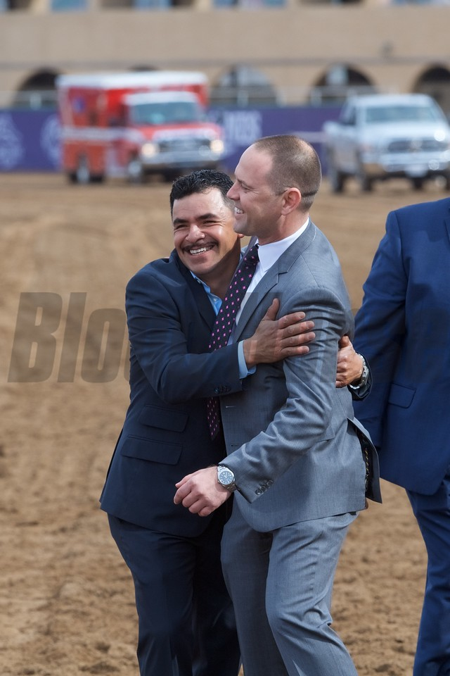 Connections of Rushing Fall celebrate wining the Breeders Cup Juvenile Fillies Turf at Del Mar on November 3, 2017. Photo by Skip Dickstein.