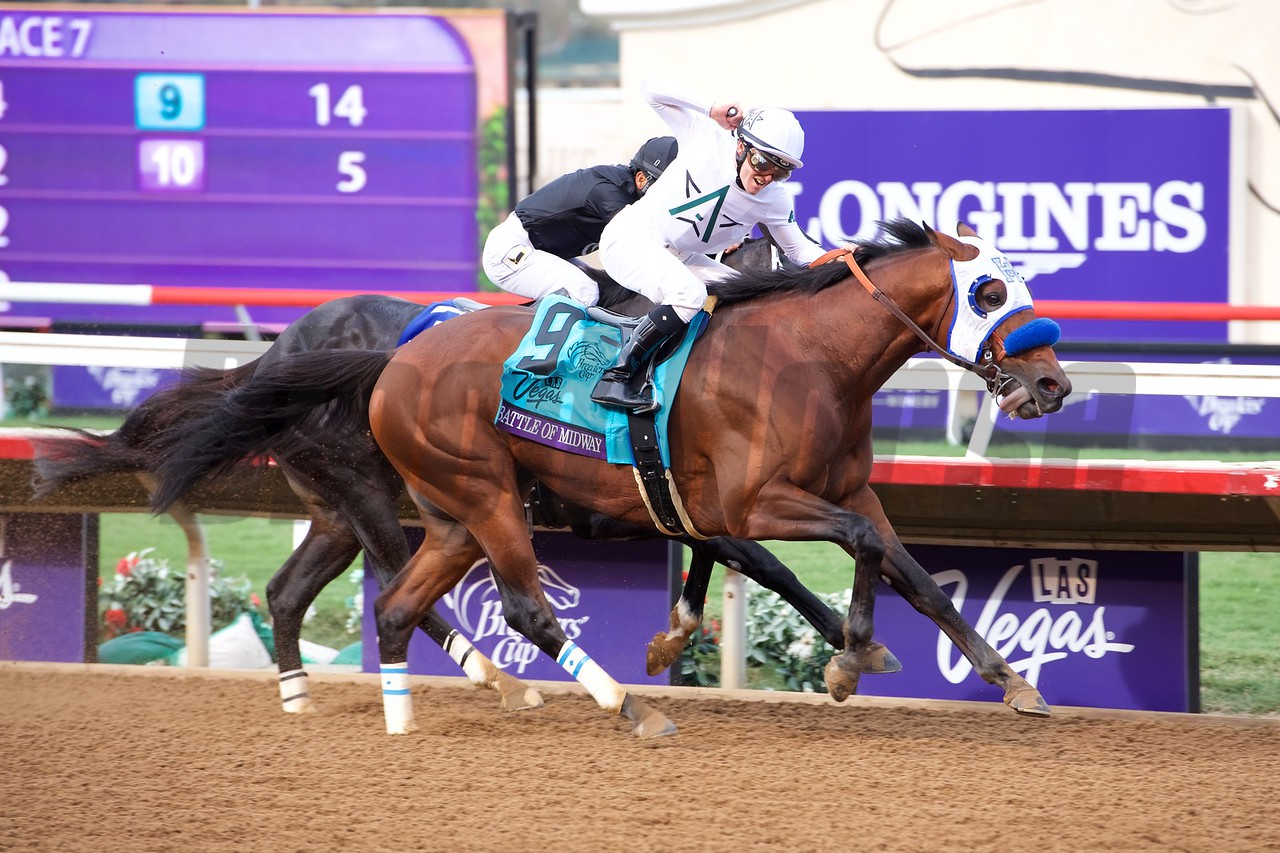 Battle of Midway wins the Breeders Cup Dirt Mile on November 3, 2017. Photo by Anne Eberhardt.