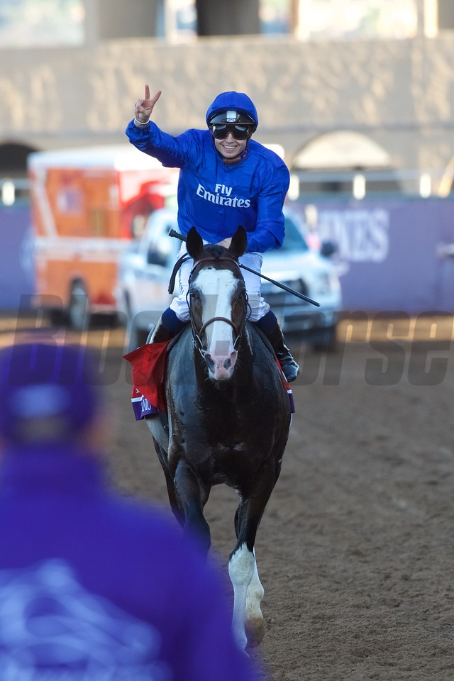 Mickael Barzalona celebrates after winning the Breeders Cup Turf atop Talismanic on November 4, 2017. Photo by Skip Dickstein.