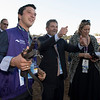 asst trainer Richard Lambert, center<br /> Talismanic wins the Breeders Cup Turf on November 4, 2017. Photo by Anne Eberhardt.