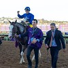 Michael Barzalona celebrates after Talismanic wins the Breeders Cup Turf on November 4, 2017. Photo by Anne Eberhardt.