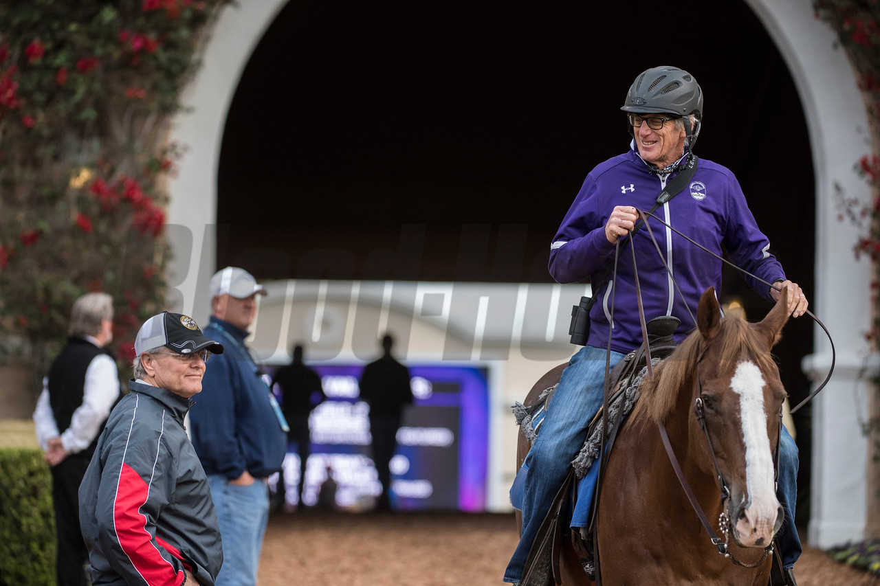 Trainers Bill Mott, left and John Sherrifs share a light hearted moment at Del Mar Nov. 2, 2017.  Photo by Skip Dickstein