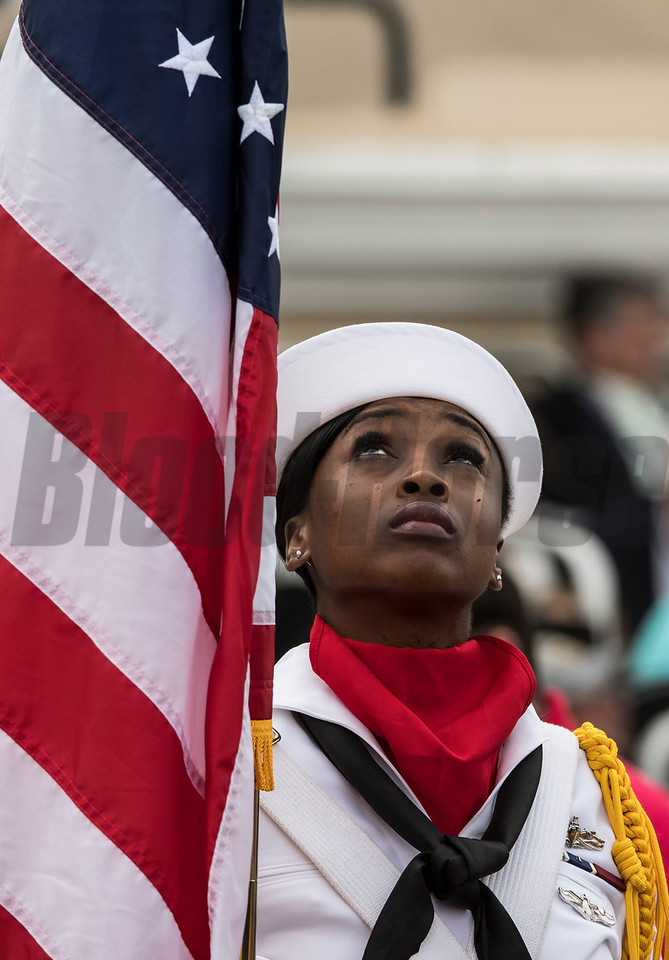 Color Guard opens the day at Del Mar on November 3, 2017. Photo by Skip Dickstein.