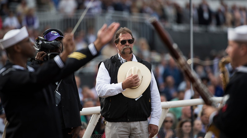 National Anthem at Del Mar on November 3, 2017. Photo by Skip Dickstein.