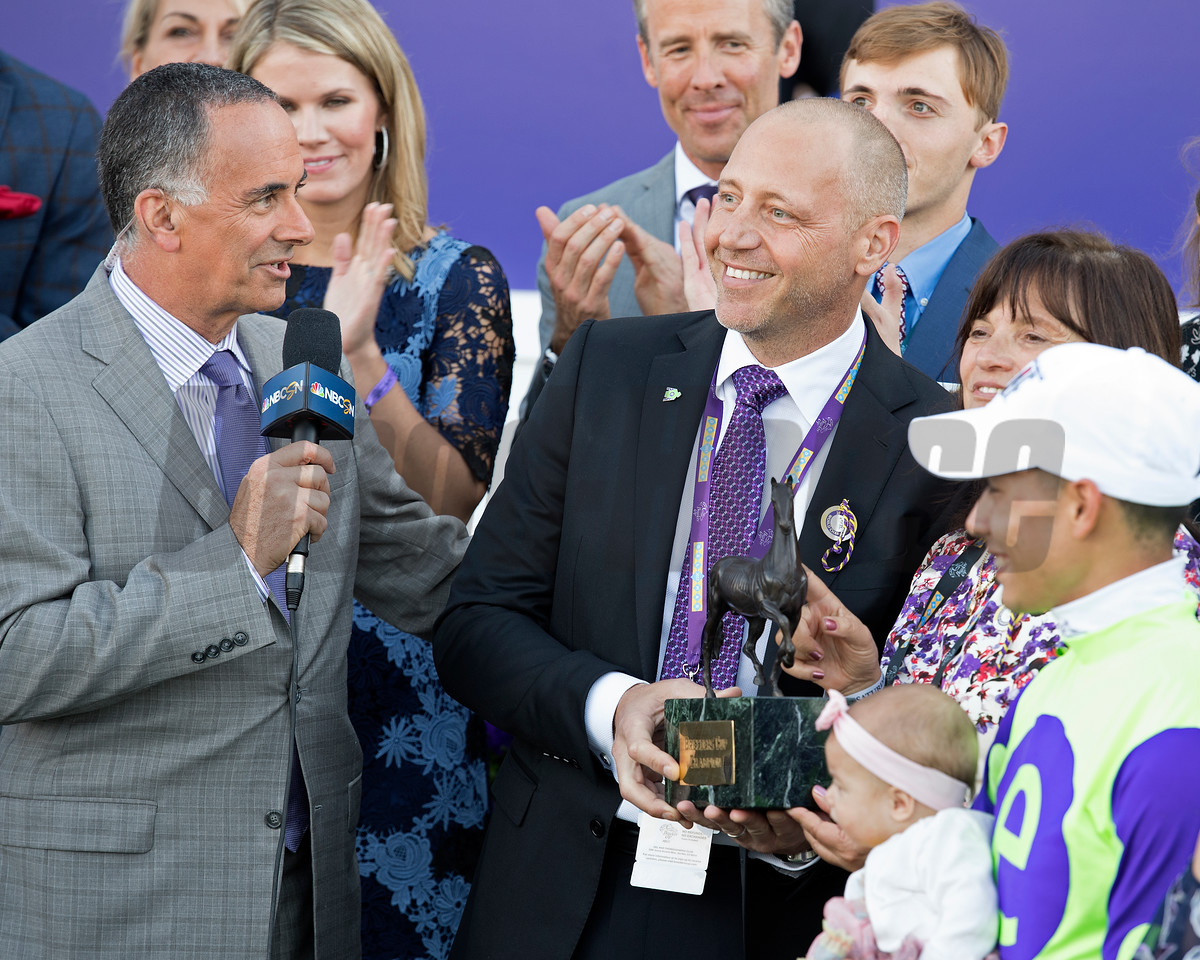 Owner Edwards with trophy<br /> Good Magic wins the Breeders Cup Juvenile on November 4, 2017. Photo by Anne Eberhardt.