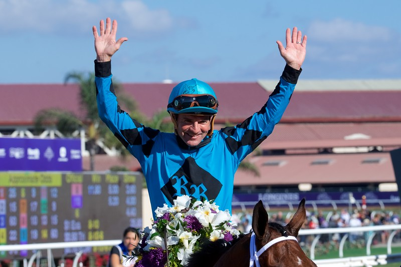 Kent Desormeaux celebrates winning the Breeders Cup Sprint atop Roy H on November 4, 2017. Photo by Skip Dickstein.