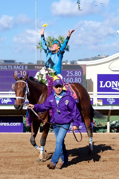 Kent Desormeaux celebrates winning the Breeders Cup Sprint atop Roy H on November 4, 2017. Photo by Anne M. Eberhardt