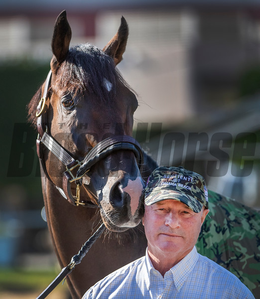 Omaha Beach with trainer Dick Mandella at Santa Anita Race Course Wednesday October 30, 2019 in Arcadia, CA.  Photo by Skip Dickstein