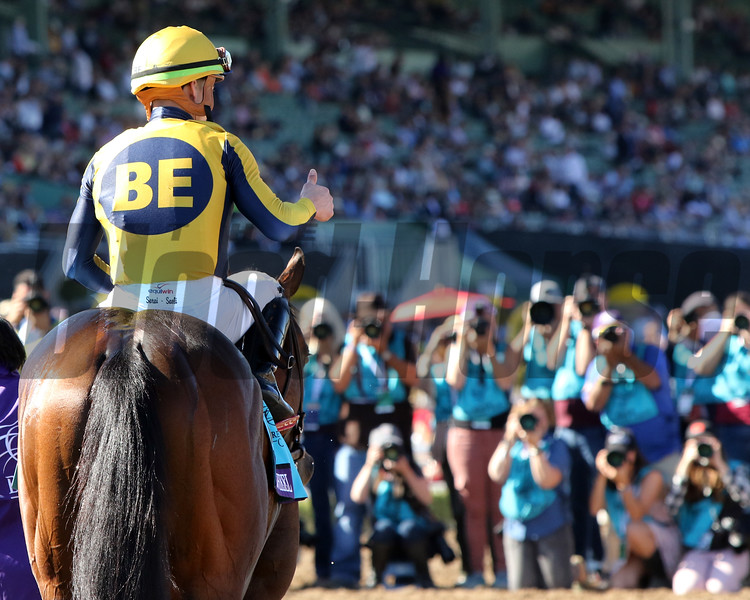 Four Wheel Drive after winning the Breeders' Cup Juvenile Turf Sprint at Santa Anita Park on November 1, 2019. Photo By: Chad B. Harmon