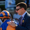 Trainer Aiden O'Brien consoles on of his jockeys after the lose in the Juvenile Turf at Santa Anita Park Nov. 1, 2019 in Arcadia, CA.  Photo by Skip Dickstein