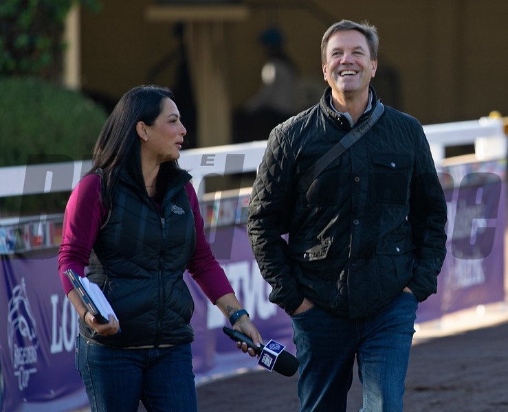 (L-R): Michelle Yu with TVG and trainer Graham Motion<br /> at  Oct. 30, 2019 Santa Anita in Arcadia, CA.