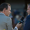 Nick Luck interviews a winning connection during his telecast of the Breeders' Cup at Santa Anita Park November 1, 2019 in Arcadia, CA.  Photo by Skip Dickstein