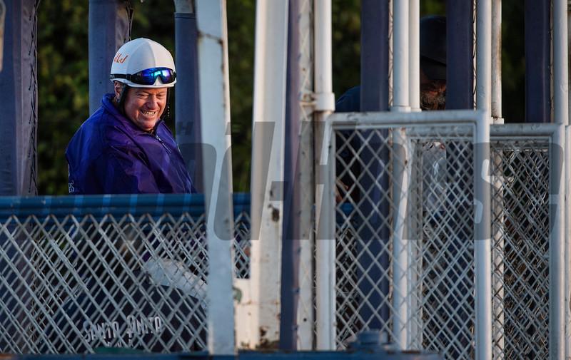 Trainer Larry Jones gate schools Street Dance at Santa Anita Race Course Wednesday October 30, 2019 in Arcadia, CA.  Photo by Skip Dickstein