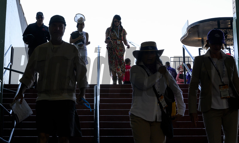 Patrons head to their seats on Breeders' Cup Friday Nov. 1, 2019 at Santa Anita Park race course in Arcadia, CA.  Photo by Skip Dickstein