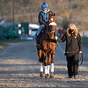 Preakness Swiss Skydiver with regular rider Robby Albarado in the saddle heads to the track for a gallop at Keeneland Race Course Monday Nov. 2 2020 in Lexington, KY.  Photo by Skip Dickstein