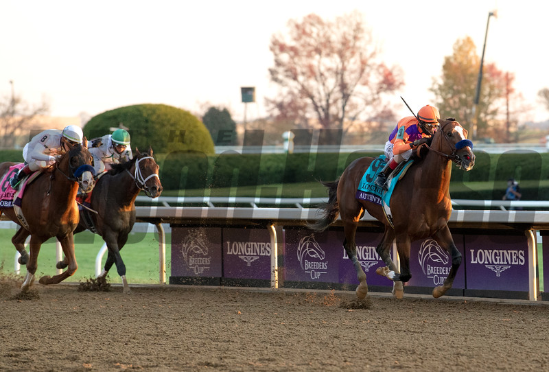 Authentic with John Velazquez wins the Breeders' Cup Longines Classic at Keeneland in Lexington, Ky. on Nov. 7, 2020.