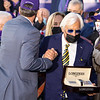 Bob Baffert in the winner's circle for Authentic with John Velazquez win the Breeders' Cup Longines Classic at Keeneland in Lexington, Ky. on Nov. 7, 2020.