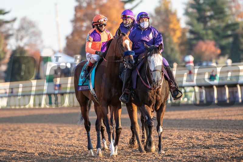 Authentic ridden by John Velazquez wins the $2M Breeders' Cup Classic G1 at Keeneland Race Course Saturday Nov. 7,  2020 in Lexington, KY.  Photo by Skip Dickstein
