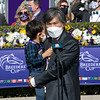 Jin Woo Lee with family in the winner's circle after Knicks Go with Joel Rosario win the Breeders' Cup Dirt Mile at Keeneland in Lexington, Ky. on Nov. 7, 2020.