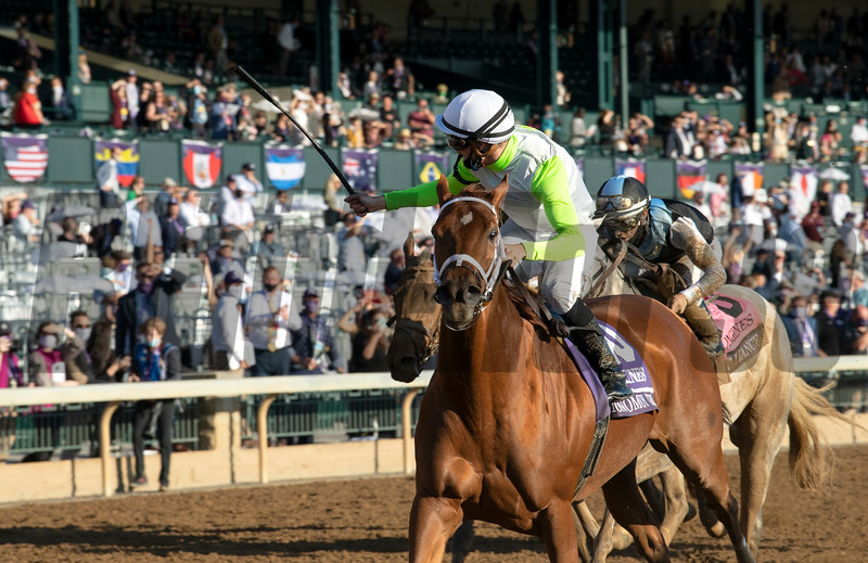 Monomoy Girl with Florent Geroux wins the Breeders' Cup Distaff at Keeneland in Lexington, Ky. on Nov. 7, 2020.
