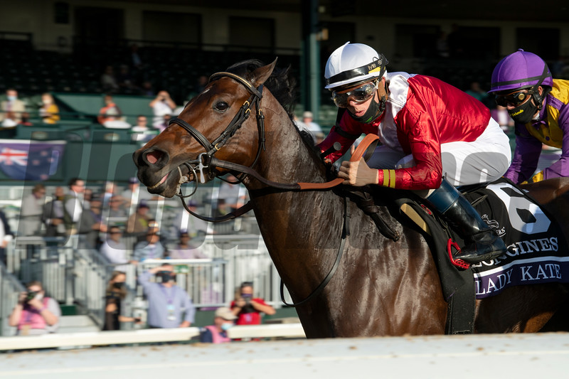 Tyler Gaffalione races in the Breeders' Cup Distaff at Keeneland in Lexington, Ky. on Nov. 7, 2020.