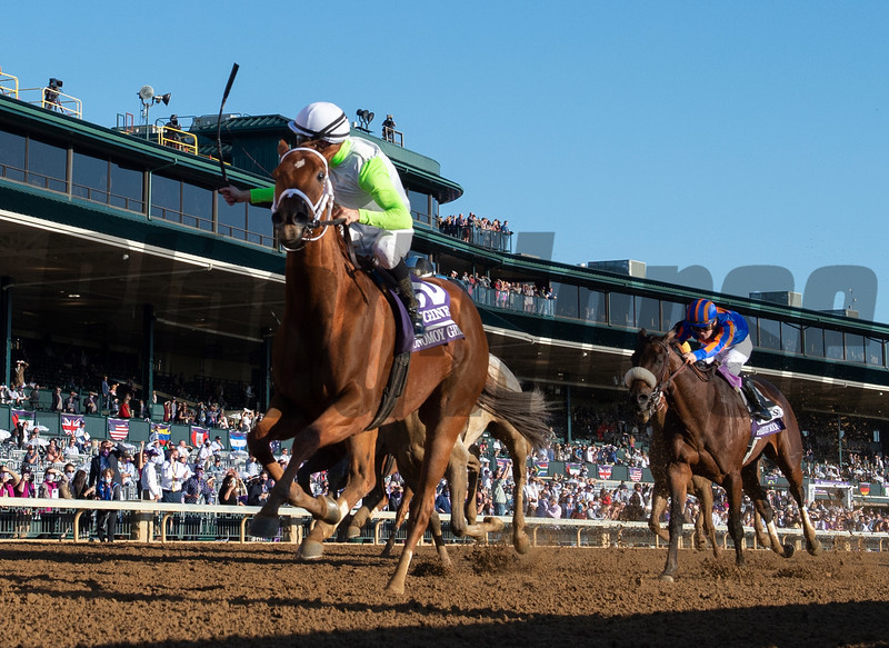 Monomoy Girl with jockey Florent Giroux wins the $2M Breeders' Cup Distaff G1 at Keeneland Race Course Saturday Nov. 7,  2020 in Lexington, KY.  Photo by Skip Dickstein