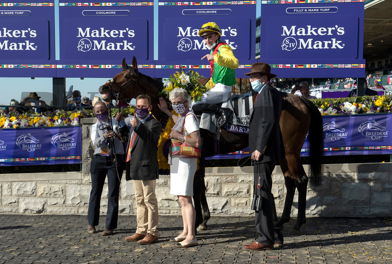 Winning connections of Audarya with Pierre Charles Boudot  in the winner's circle for the Breeders' Cup Filly and Mare Turf at Keeneland in Lexington, Ky. on Nov. 7, 2020.