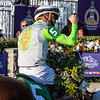 Aunt Pearl ridden by Florent Geroux wins the $1M Breeders' Cup Juvenile Fillies Turf(G1)  at Keeneland Race Course Friday Nov. 6 2020 in Lexington, KY.  Photo by Skip Dickstein