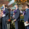 People stand for national anthem at Keeneland in Lexington, Ky. on Nov. 7, 2020.