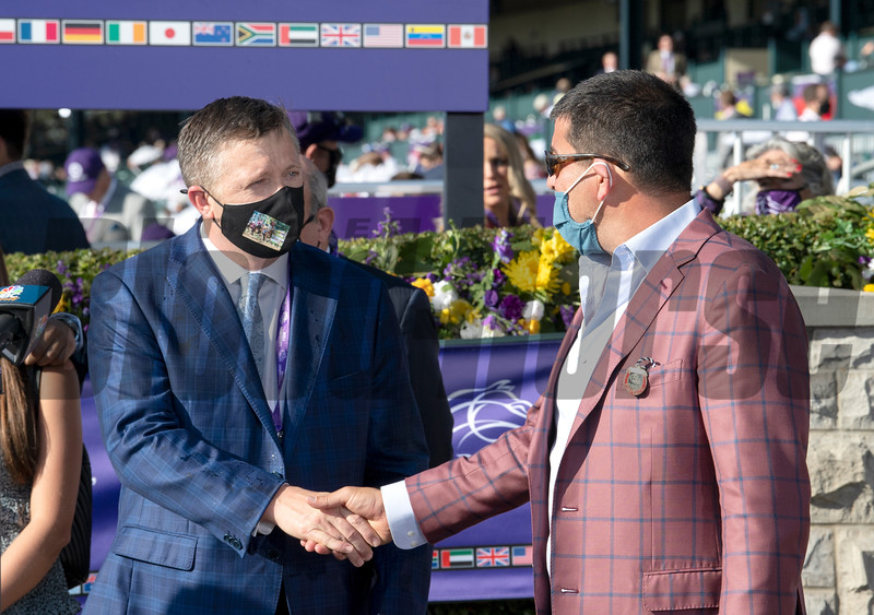 (L-R) Ron Moquett and Sol Kumin in the winner's circle for Whitmore with Irad Ortiz Jr. win of the Sprint at Keeneland in Lexington, Ky. on Nov. 7, 2020.