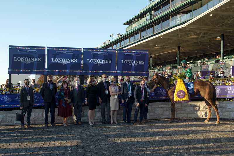 Winning connections of Tarnawa with Colin Keane in the winner's circle for the Breeders' Cup Turf at Keeneland in Lexington, Ky. on Nov. 7, 2020. Photo: Anne M. Eberhardt