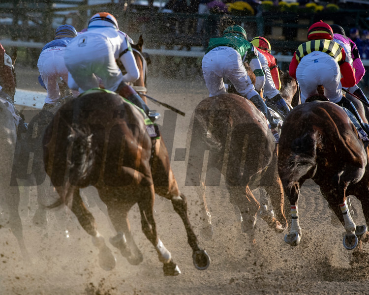Accelerate ridden by Joel Rosario, center positions himself to win the 35th running of The Breeders' Cup Classic at Churchill downs Saturday Nov. 3, 2018.  Photo by Skip Dickstein