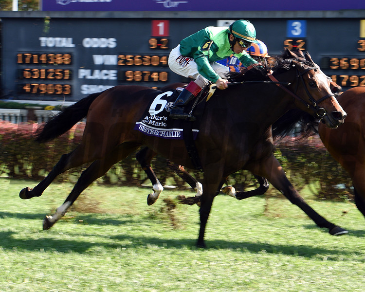 Sistercharlie (IRE) with John Velazquez wins the Maker's Mark Breeders' Cup Filly and Mare Turf (G1T) at Churchill Downs. Photo by Dave Harmon