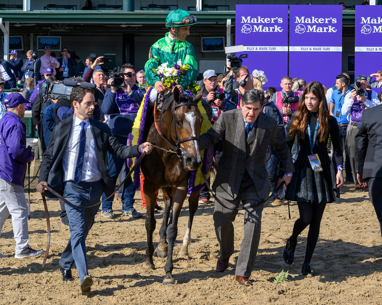 Peter M. Brant walks Sistercharlie (IRE) with John Velazquez after winning the Maker's Mark Breeders' Cup Filly & Mare Turf (G1) at Churchill Downs on November 3, 2018.