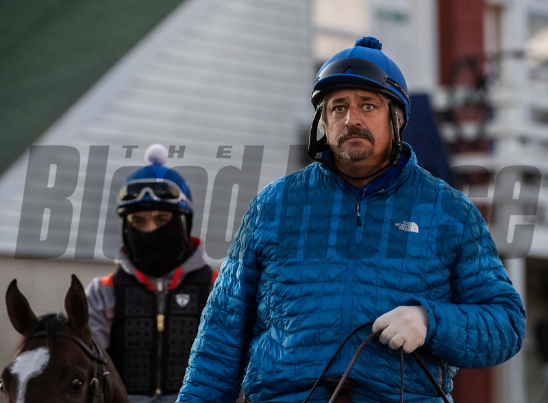 Trainer Steve Asmussen ponies a horse to the track at Churchill Downs on Breeders' Cup week Monday October 29, 2018 in Louisville, KY.  Photo by Skip Dickstein