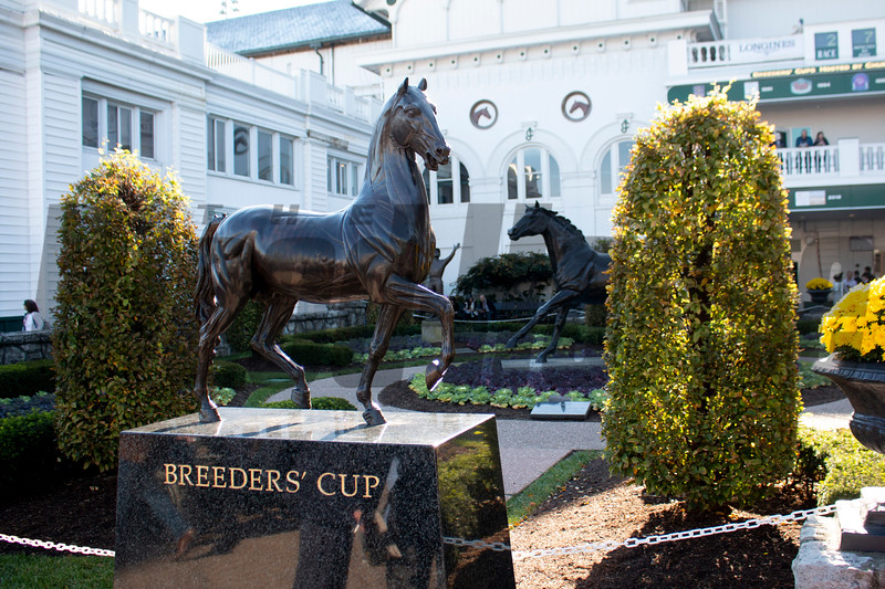 The Breeders' Cup trophy is visible during the 35th Breeders' Cup on Saturday, Nov. 3, 2018, at Churchill Downs, in Louisville, Kentucky.
