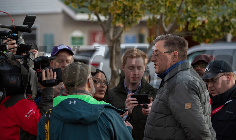 John Sadler speaks to the media on track at Churchill Downs on Breeders' Cup week Monday October 29, 2018 in Louisville, KY.  Photo by Skip Dickstein