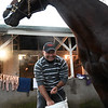 Luis Carvajal washing Imperial Hunt Sunday Oct. 28, 2018 before the Breeders' Cup at Churchill Downs in Louisville, KY Photo by Skip Dickstein