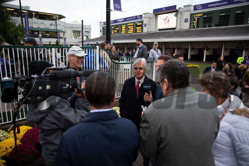 Bob Baffert is interviewed by the media after Game Winner won the Sentient Jet Breeders' Cup Juvenile race during the 35th Breeders' Cup on Friday, Nov. 2, 2018, at Churchill Downs, in Louisville, Kentucky.