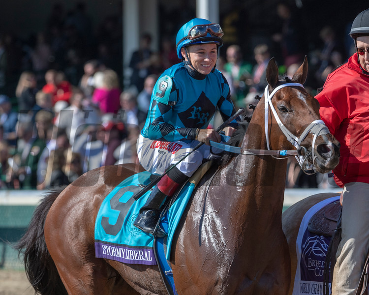 Stormy Liberal with Drayden Van Dyke wins the Breeders' Cup Turf Sprint (G1) at Churchill Downs on November 3, 2018.