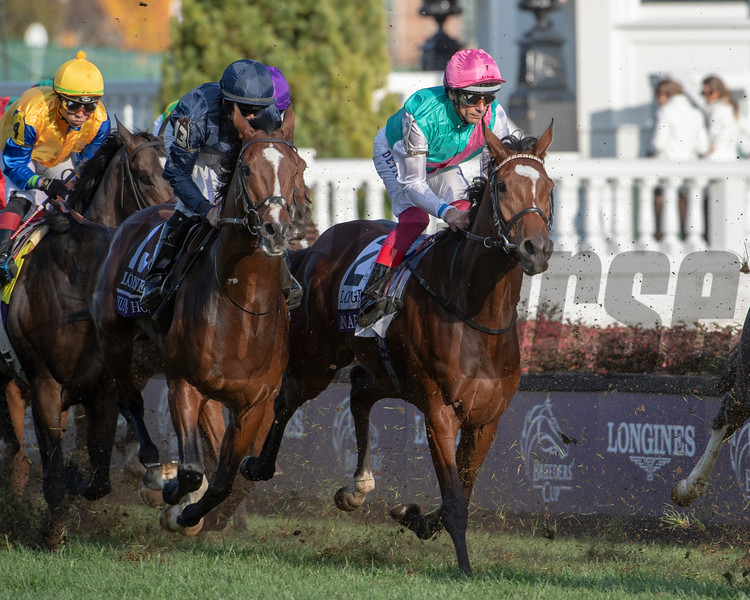 Enable (GB) with Lanfranco Dettori stalks the field the first time down the front stretch in the Longines Breeders' Cup Turf (G1) at Churchill Downs on November 3, 2018.